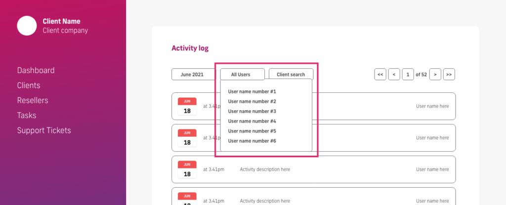 screenshot of user filter on glow activity log