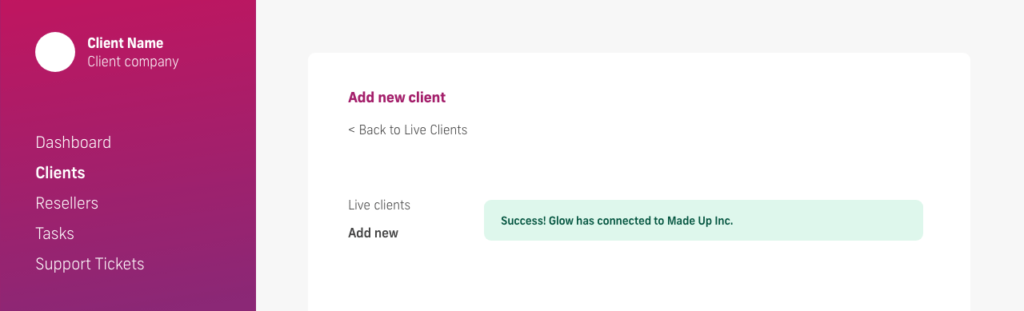 glow manage multiple wordpress sites, client connection success screen