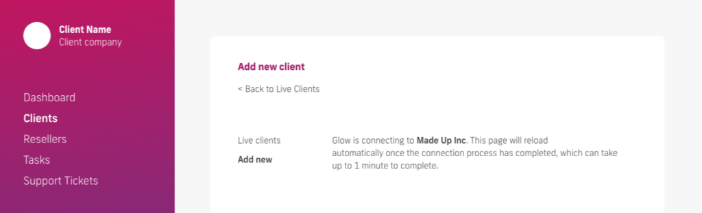 glow manage multiple wordpress sites, client connection screen