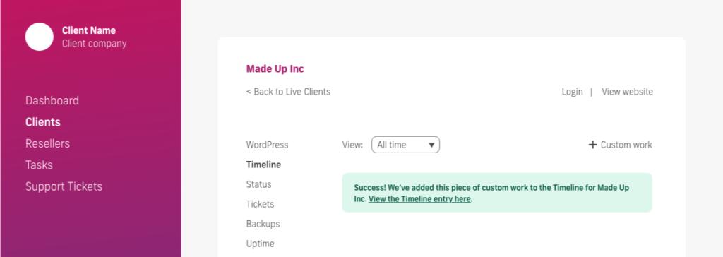 glow manage multiple wordpress sites, add custom work success