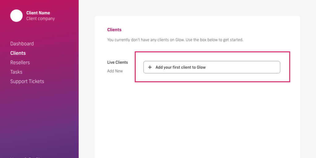 glow manage multiple wordpress sites, add first client