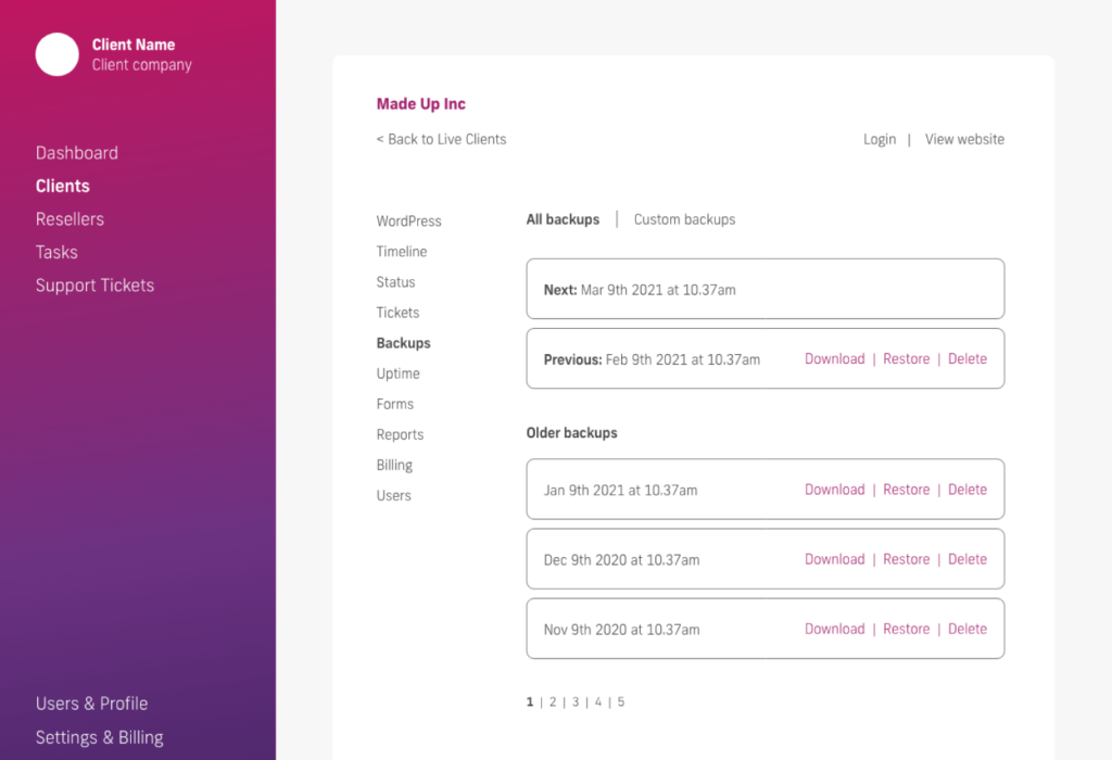 glow manage multiple wordpress sites, all backups screen