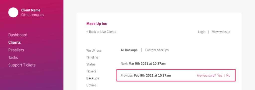 glow manage multiple wordpress sites, backup deletion question