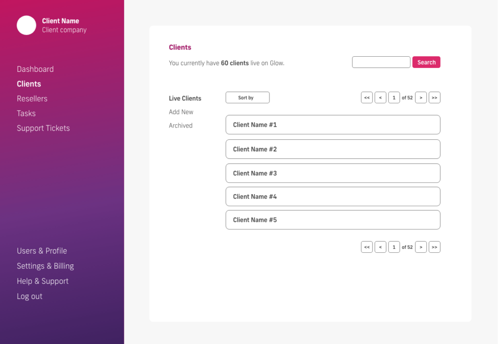 glow manage multiple wordpress sites, live clients screen