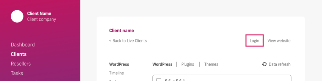 glow manage multiple wordpress sites, client login feature