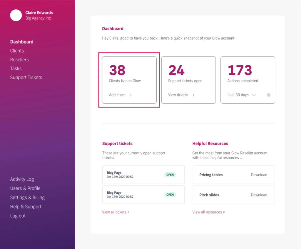 glow manage multiple wordpress sites, add a client from dashboard
