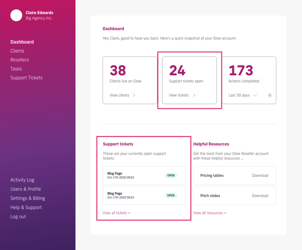 glow manage multiple wordpress sites, dashboard support tickets