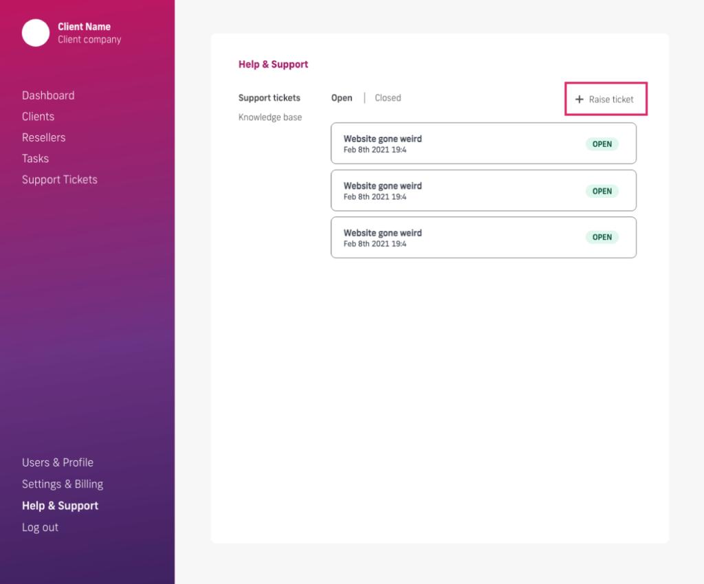 glow manage multiple wordpress sites, raise ticket to glow
