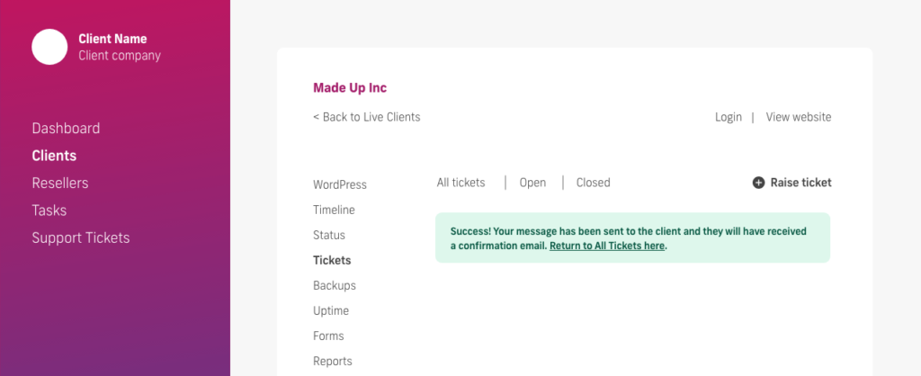 glow manage multiple wordpress sites, raise a support ticket to your client