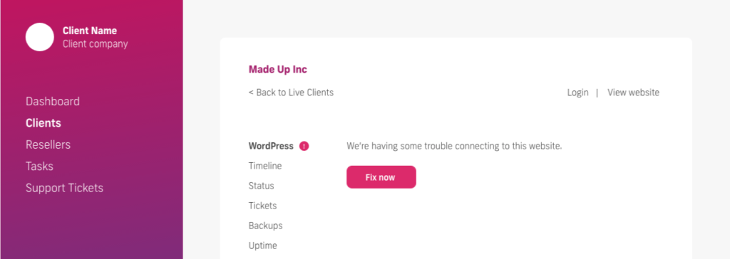 glow manage multiple wordpress sites, begin reconnecting a website