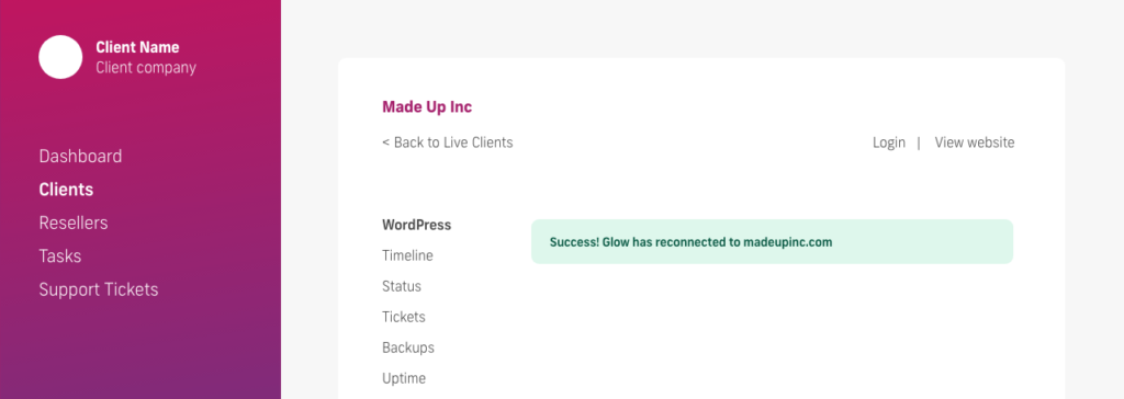 glow manage multiple wordpress sites, reconnect a website success