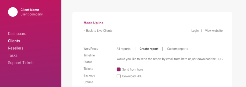 glow manage multiple wordpress sites, create report sending options