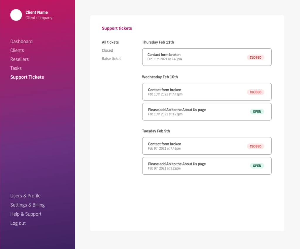 glow manage multiple wordpress sites, all support tickets