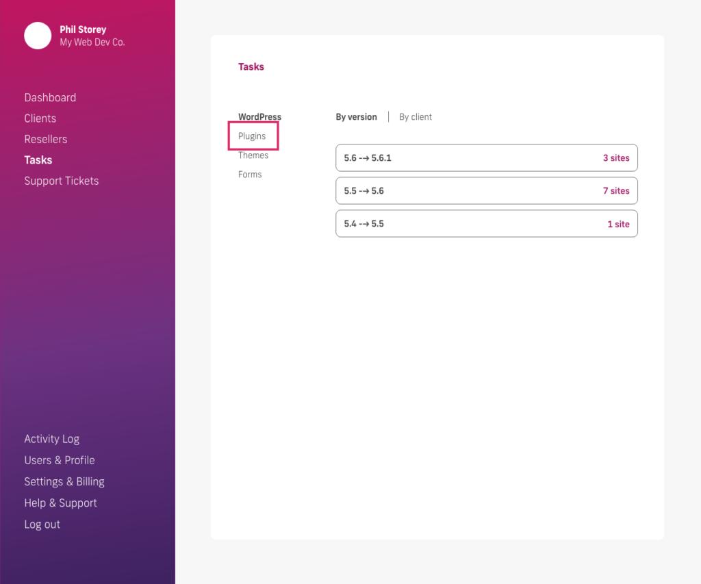 glow manage multiple wordpress sites, tasks screen, plugins tab