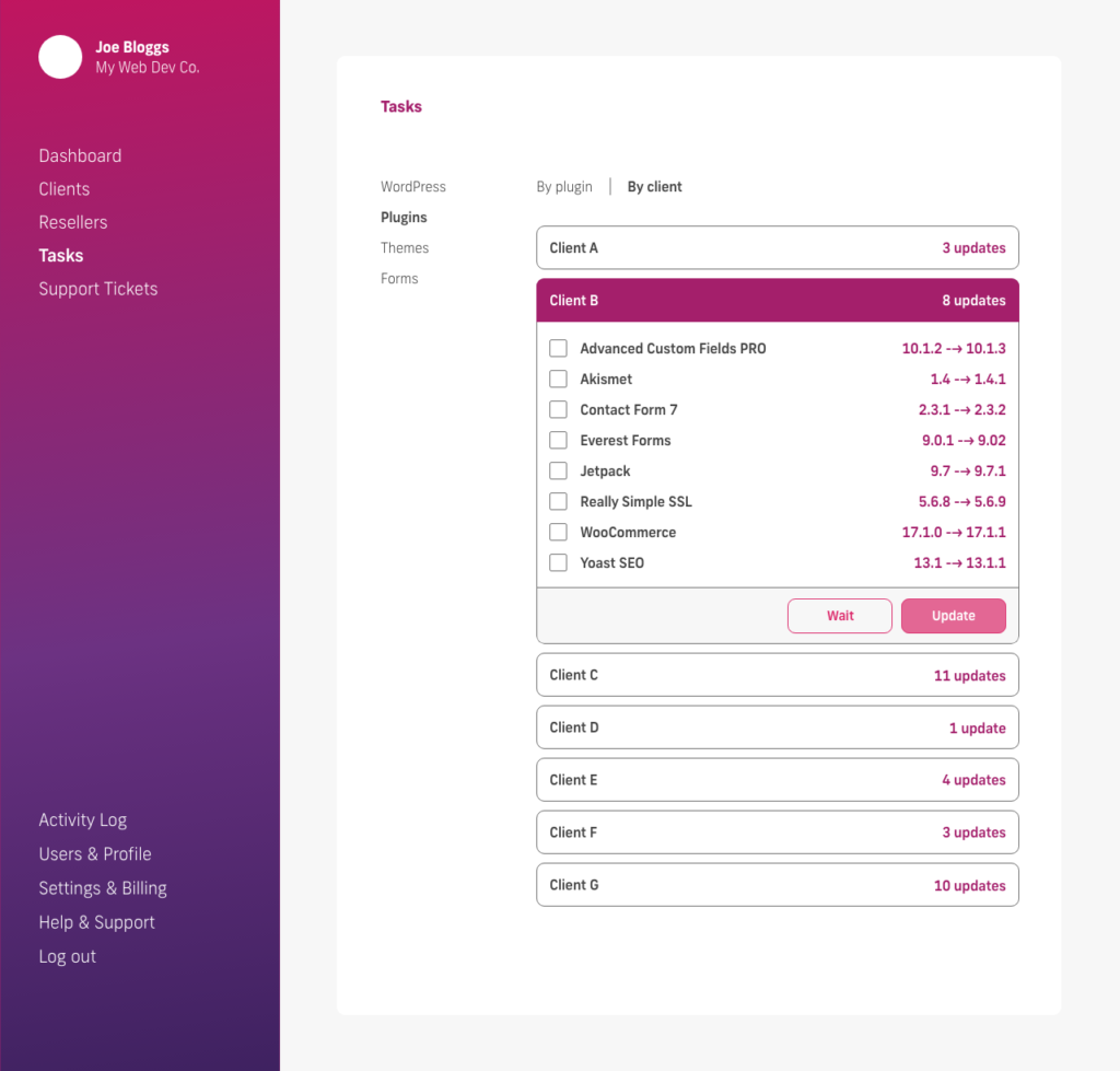 glow manage multiple wordpress sites, bulk update plugins by client, select plugins