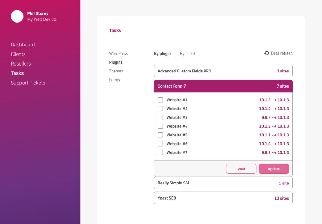 glow manage multiple wordpress sites, bulk update plugins select client websites