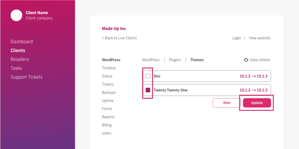 glow manage multiple wordpress sites, select theme update function