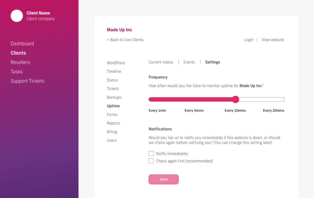 glow manage multiple wordpress sites, uptime settings change