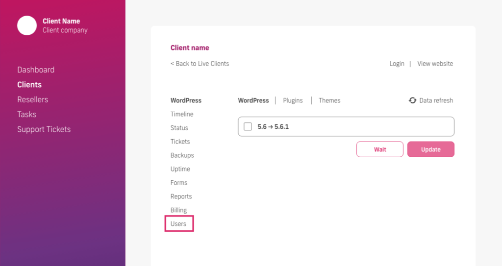 glow manage multiple wordpress sites, client users tab