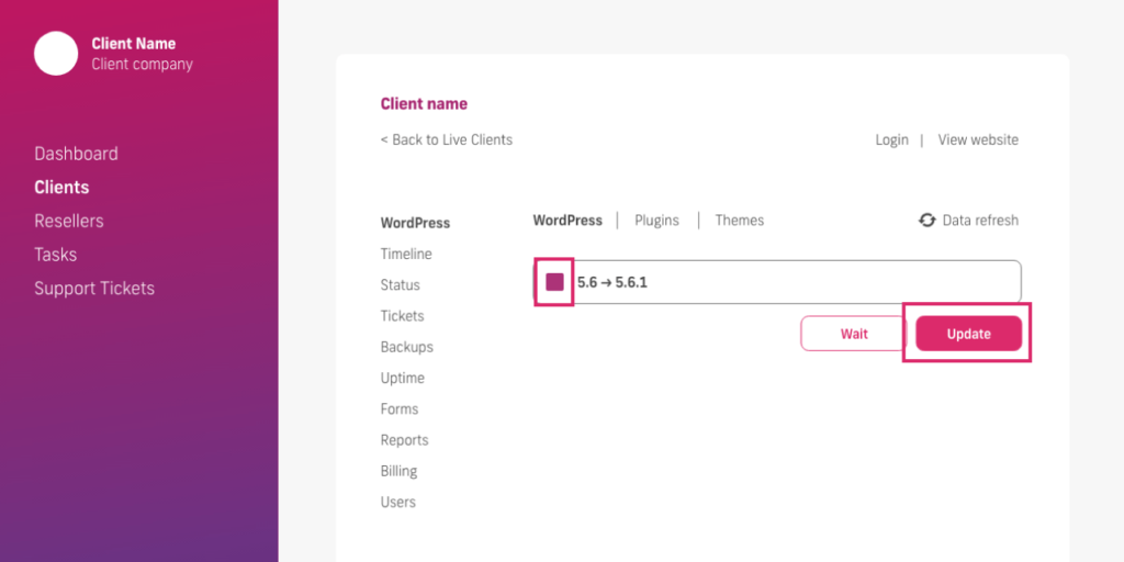 glow manage multiple wordpress sites, select wordpress update function