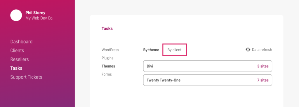 glow manage multiple wordpress sites, bulk update themes, by client name