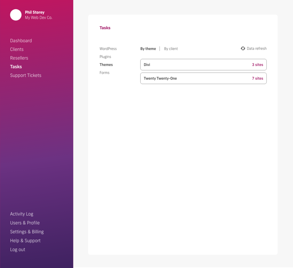 glow manage multiple wordpress sites, bulk update themes, by theme name