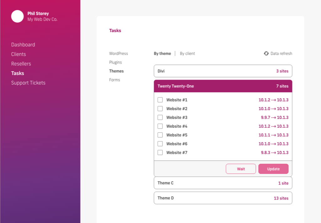 glow manage multiple wordpress sites, bulk update themes, by theme name, select sites