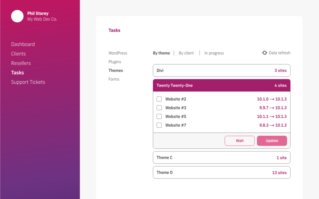 glow manage multiple wordpress sites, bulk update themes, by theme name, updated sites